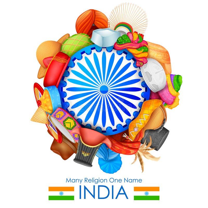 Jedność w różnorodności India royalty ilustracja