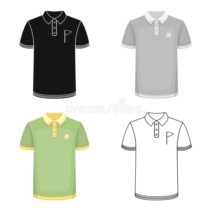 Jednolita koszula dla golfa Kij golfowy pojedyncza ikona w kreskówka stylu symbolu zapasu ilustraci wektorowej sieci royalty ilustracja