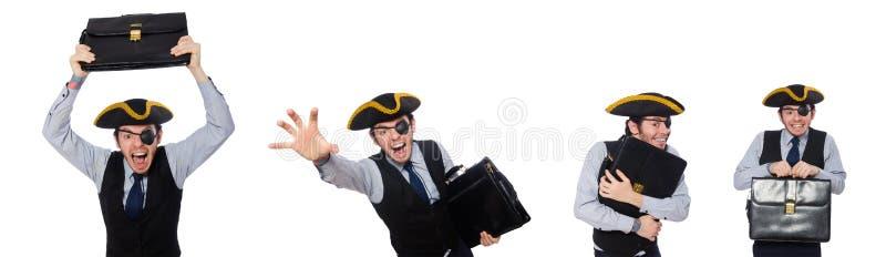 Jednooki mężczyzna z tricorn odosobnionym na bielu zdjęcia stock
