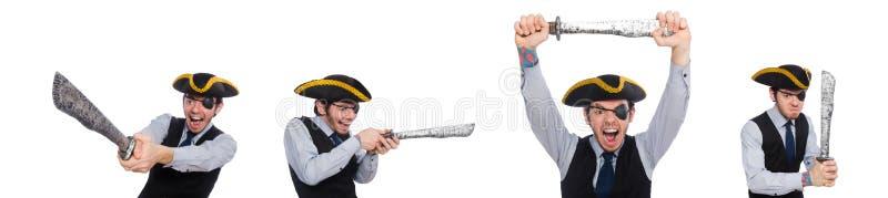 Jednooki mężczyzna z bronią odizolowywającą na bielu fotografia stock