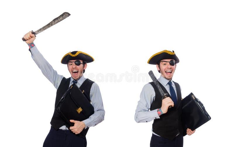 Jednooki mężczyzna z bronią odizolowywającą na bielu obraz stock