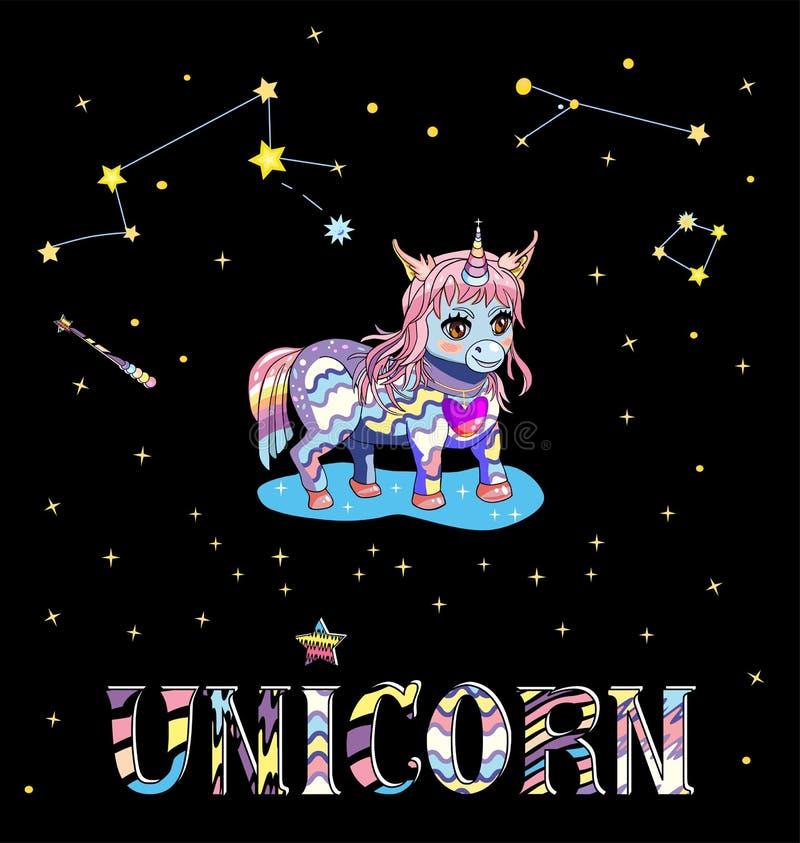 Jednorożec chibi odizolowywający na czarnym niebie z asterisms, gwiazdami i kolorową słowo jednorożec, ilustracji