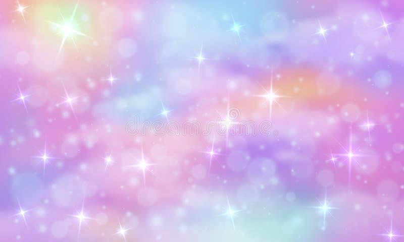 Jednorożec fantazji tło Tęczy niebo z połyskiwać gwiazdy Abstrakcjonistyczny galaxy, syrenki princess marmuru wektoru magia ilustracji