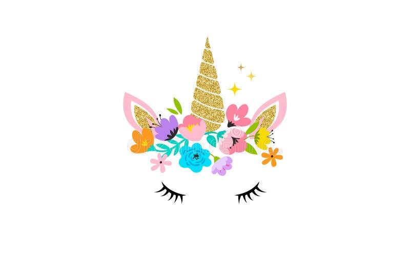 Jednorożec głowa z kwiatami karta i koszulowy projekt - royalty ilustracja