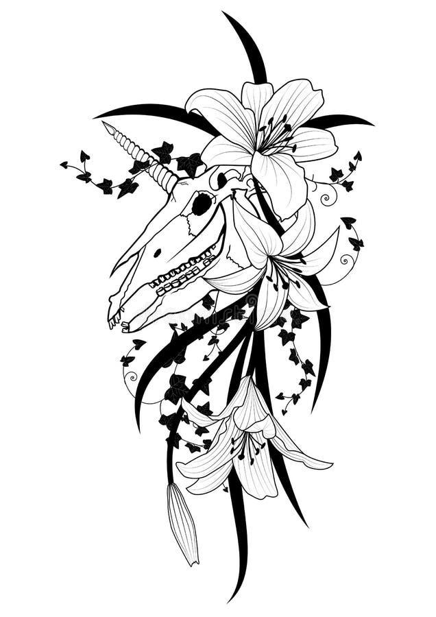 Jednorożec i leluja ilustracji