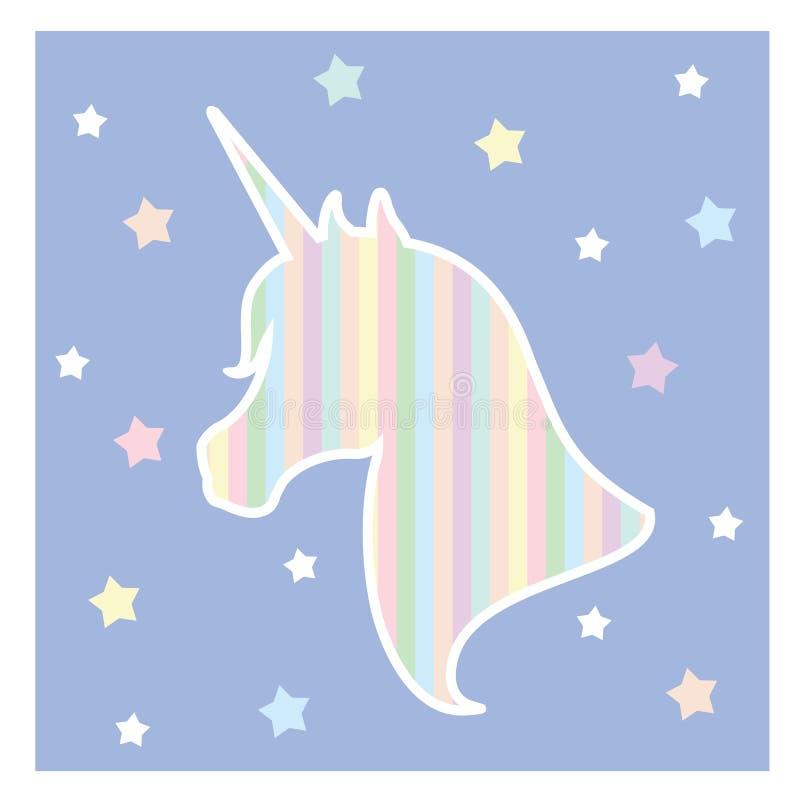 Jednorożec ikona Kierowniczego portreta koński majcher, łaty odznaka Wymarzony symbol Projekt dla dziecka ilustracji