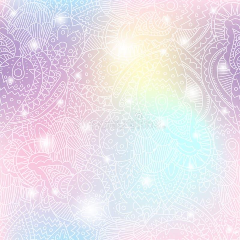 Jednorożec koloru gradientowy bezszwowy wzór royalty ilustracja