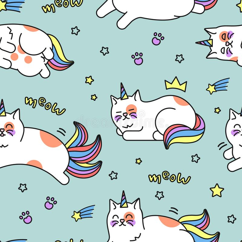 Jednorożec kota wzór royalty ilustracja