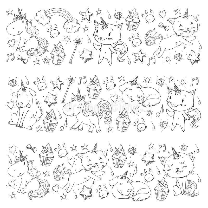 jednorożec Koty, pies, koń, konik niebieski obraz nieba tęczową chmura wektora Barwić stronę dla dziecko książki Dziecina tło dla royalty ilustracja