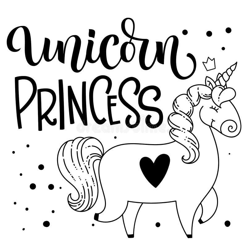 Jednorożec Princess ręka rysująca odizolowywał literowanie z śliczną doodle kreskówki jednorożec ilustracją royalty ilustracja