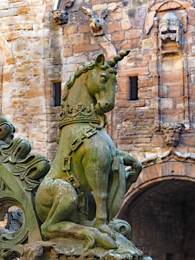 Jednorożec przy Szkockim pałac obraz royalty free