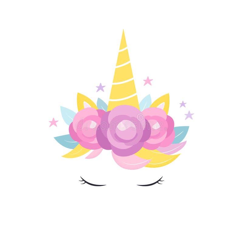 Jednorożec róg z kwiatami i rzęsy Gręplujemy, zaproszenie lub odzież Wektorowy projekt ilustracja wektor