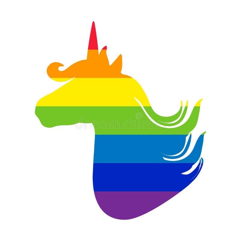 Jednorożec sylwetka Tęczy flaga w formie jednorożec Piękny magiczny zwierzę Projekt dla karty, plakat, koszulka ilustracja wektor