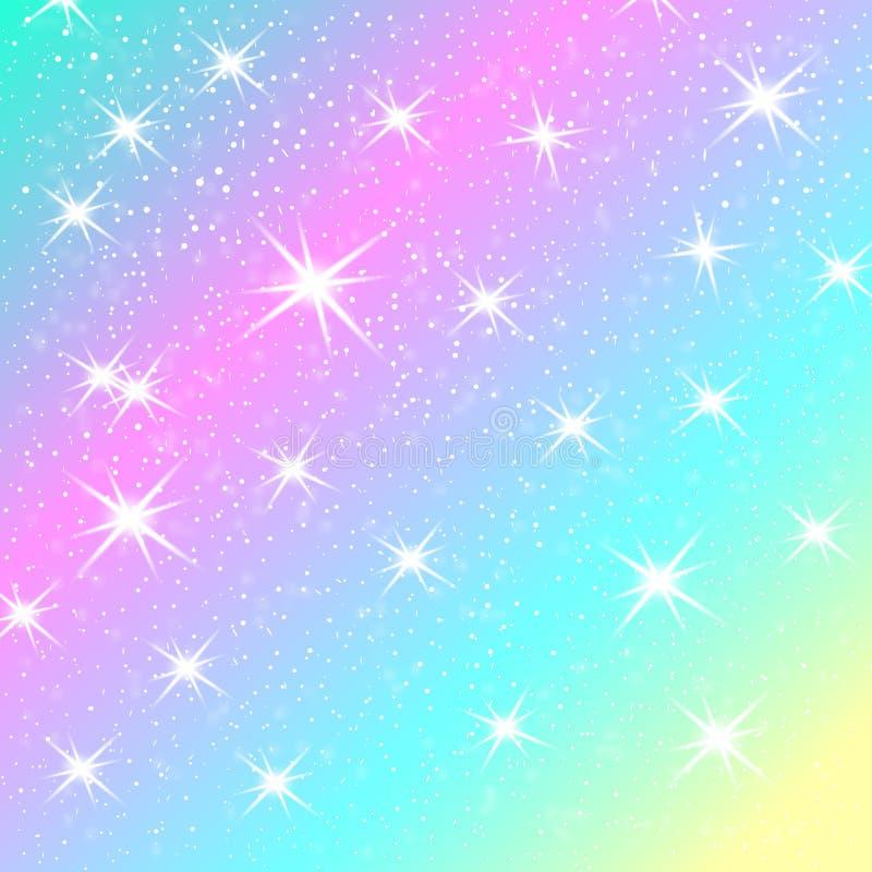 Jednorożec tęczy tło Holograficzny niebo w pastelowym kolorze Jaskrawy syrenka wzór w princess kolorach również zwrócić corel ilu royalty ilustracja
