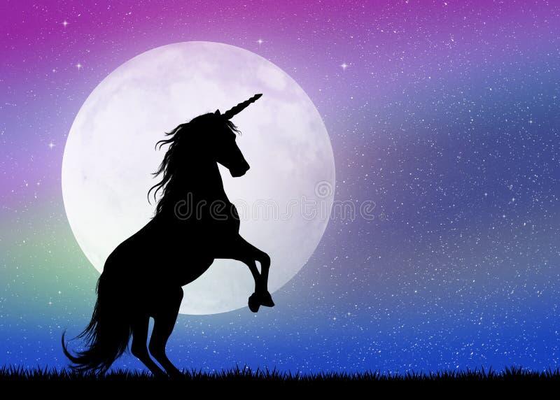 Jednorożec w blasku księżyca royalty ilustracja