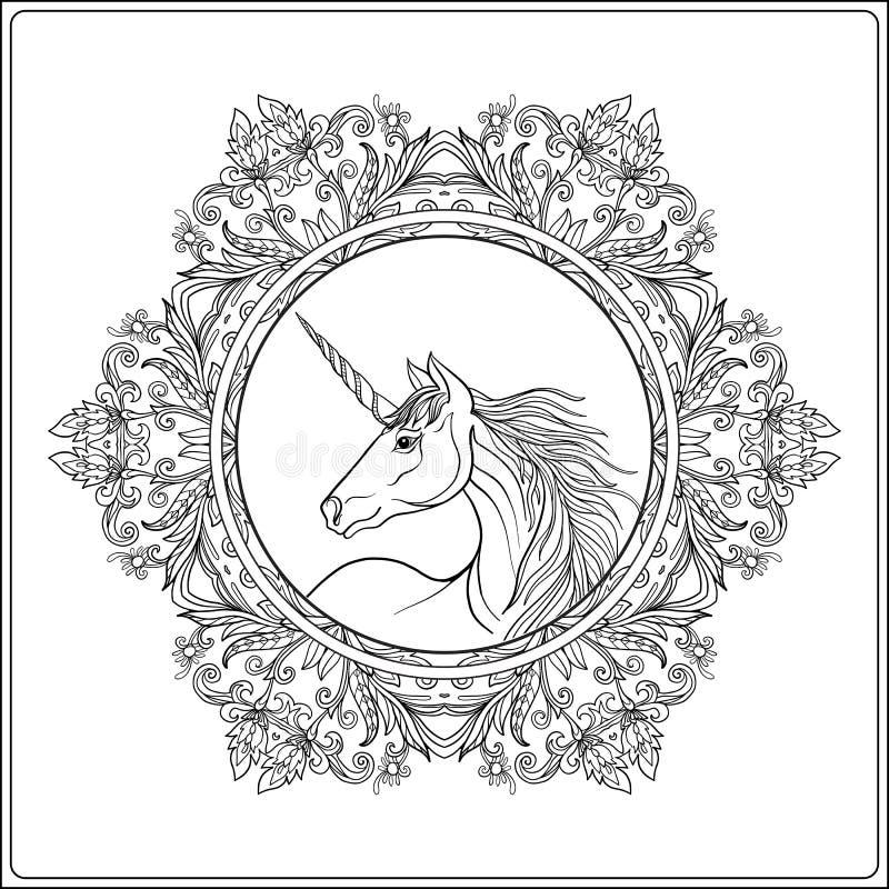 Jednorożec w rocznika mandala dekoracyjnej kwiecistej ramie obrazy stock