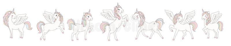 Jednorożec wektorowa słodka śliczna ilustracja Magiczny fantazja projekt Kreskówki tęczy zwierzęcia odosobniony koń Bajki jednoro ilustracji