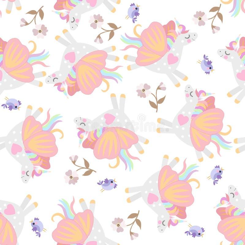 Jednorożec z skrzydłami motyl, ptaki i kwiaty odizolowywający na białego tła bezszwowym delikatnym wzorze, ilustracja wektor