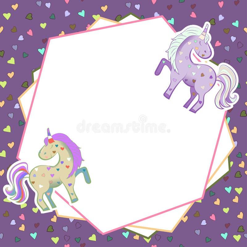 Jednoro?ec w pastelowych kolorach na tle serca grafit Abstrakt rama na lilym tle Ilustracja dla walentynki s ilustracja wektor