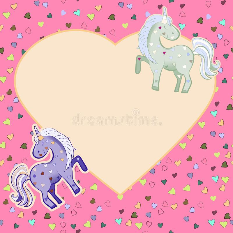 Jednoro?ec w pastelowych kolorach na tle serca grafit ramowy w kszta?cie serca Ilustracja dla walentynki s dnia ilustracja wektor