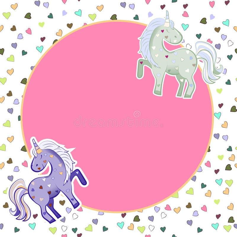 Jednoro?ec w pastelowych kolorach na tle serca grafit Round menchii rama Ilustracja dla walentynki s dnia ilustracji