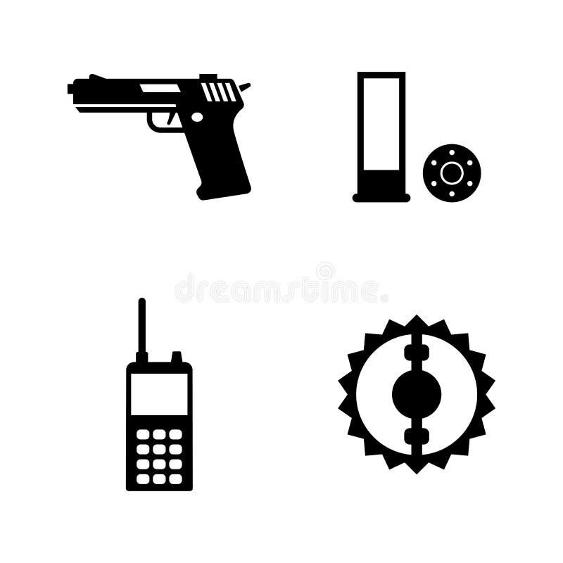 Jednostek Specjalnych narzędzia, polowanie Proste Powiązane Wektorowe ikony royalty ilustracja