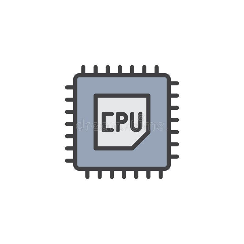 JEDNOSTKA CENTRALNA konturu procesor wypełniająca ikona royalty ilustracja