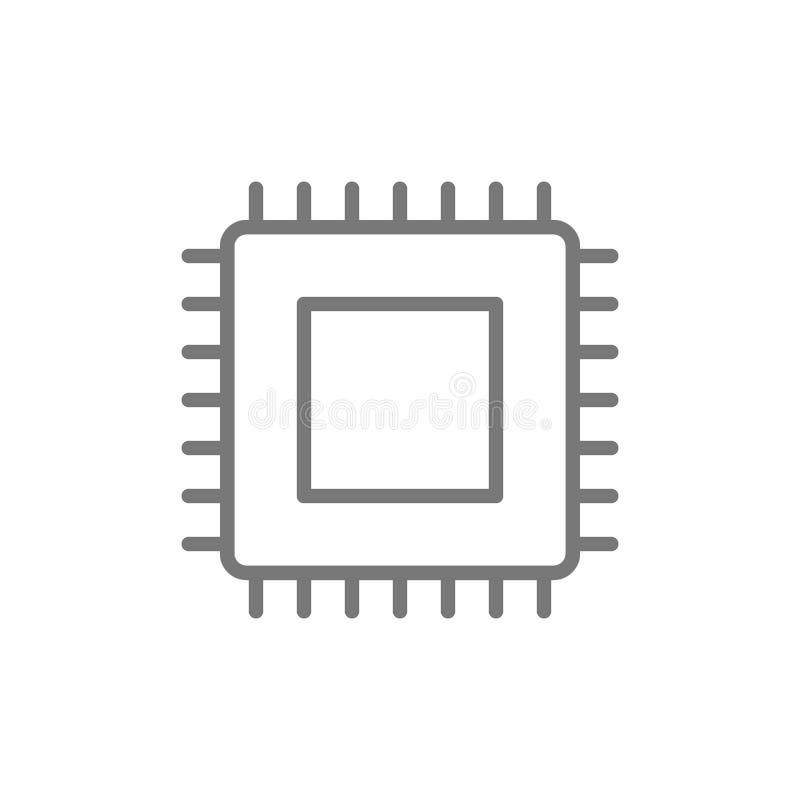 JEDNOSTKA CENTRALNA mikroprocesor, chip komputerowy kreskowa ikona ilustracji