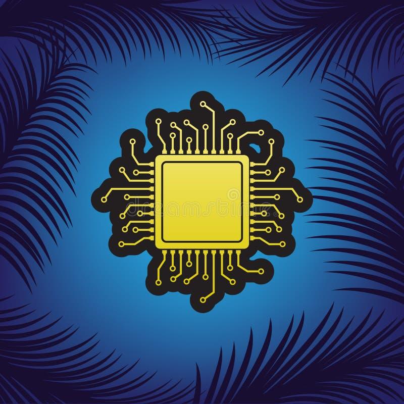 JEDNOSTKA CENTRALNA mikroprocesoru ilustracja wektor Złota ikona z czernią royalty ilustracja