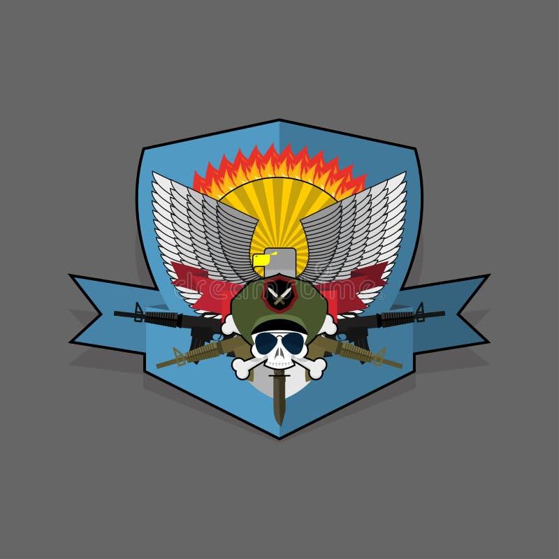 Jednostka specjalna emblemat Militarna logo broderia Czaszka hełma wi royalty ilustracja