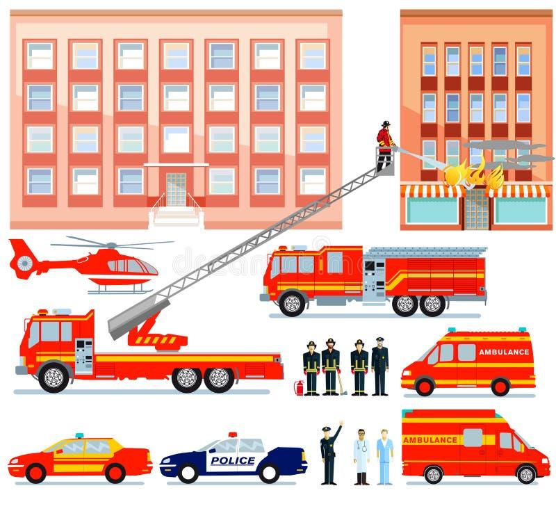 Jednostka straży pożarnej i ambulansowa ratownicza usługa ilustracja wektor