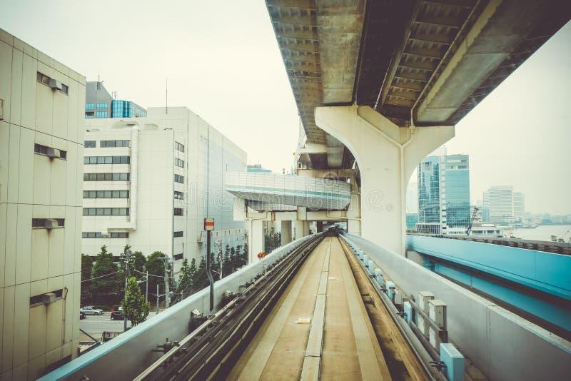 Jednoszynowy na tęcza moscie, Tokio, Japonia zdjęcie stock