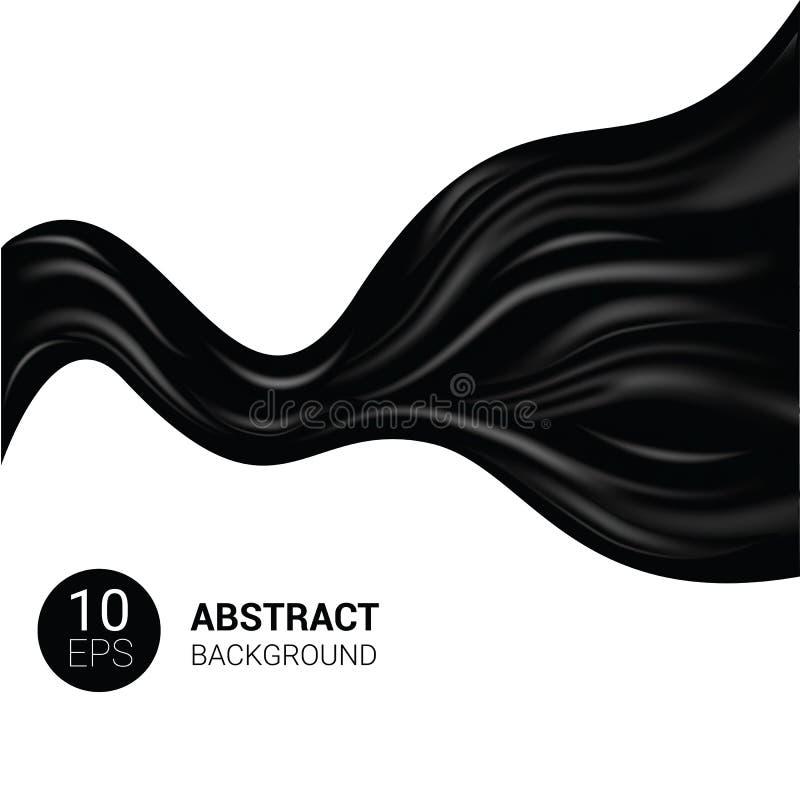 Jedwabnicza wektorowa czarna silky tkanina i elegancki ciemny atłasowy materialny ilustracyjny ustawiający draperii tekstury suki ilustracja wektor