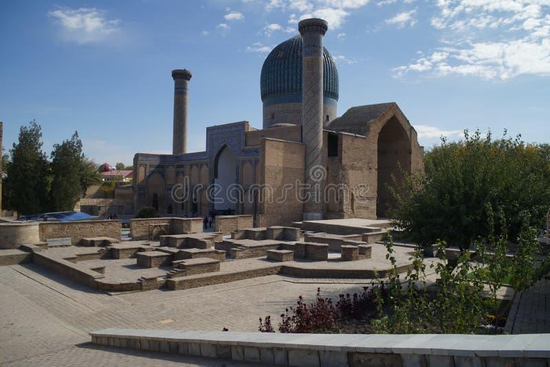Jedwabniczego śladu timura amira mauzoleumu samarkanda grobowcowy minaretowy wnętrze zdjęcie royalty free