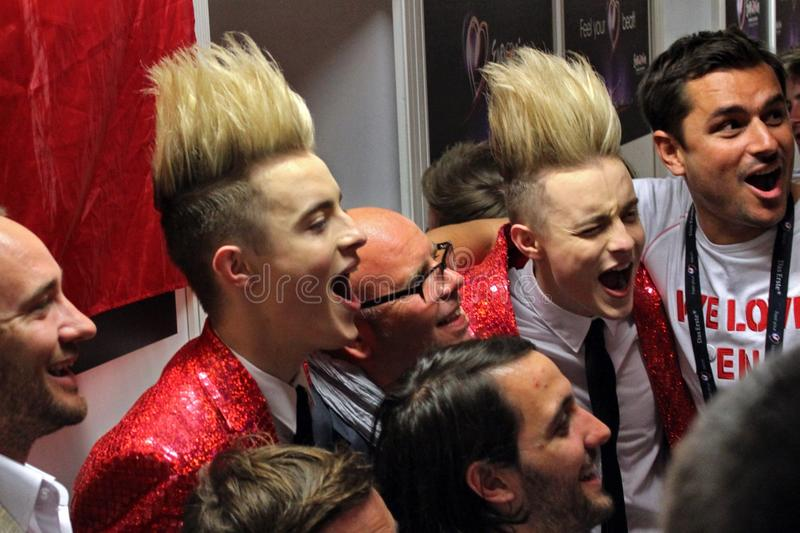 Jedward at the Eurovision Song Contest 2011. DUSSELDORF - MAY 14, 2011: Jedward, performing for Ireland after the Grand Final of the Eurovision Song Contest in stock photography