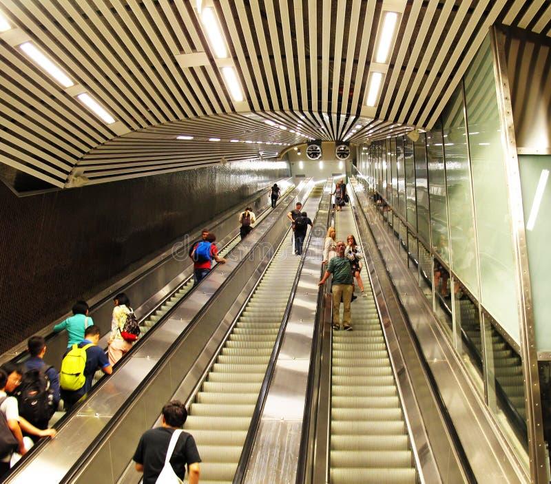 Jedyny eskalator w całości Sztokholm obrazy royalty free