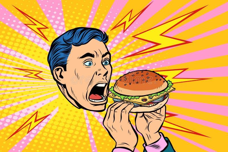 jedząc człowieka hamburgera royalty ilustracja