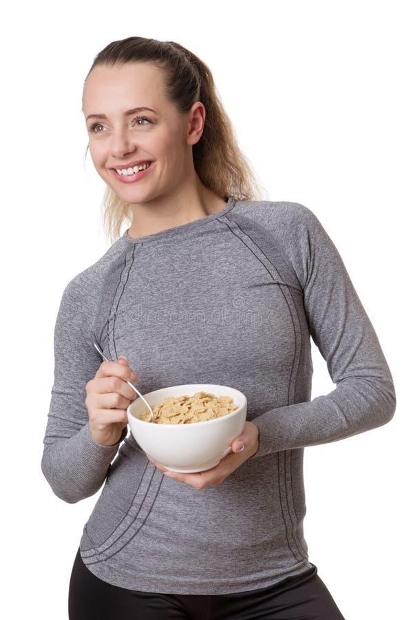 jedząc kobieta zbóż obraz royalty free