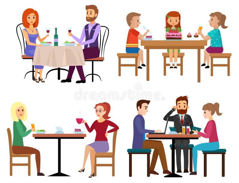 Jedzący ludzi ustawiających Dobiera się przyjaciela biznesmena, dzieci rodzinnego obsiadanie w i kreskówka royalty ilustracja