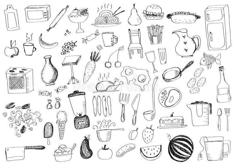 Jedzeń doodles ilustracji
