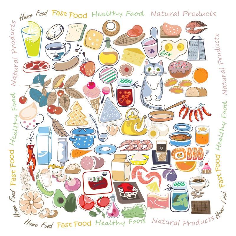 Jedzeń doodles ustawiający obraz royalty free