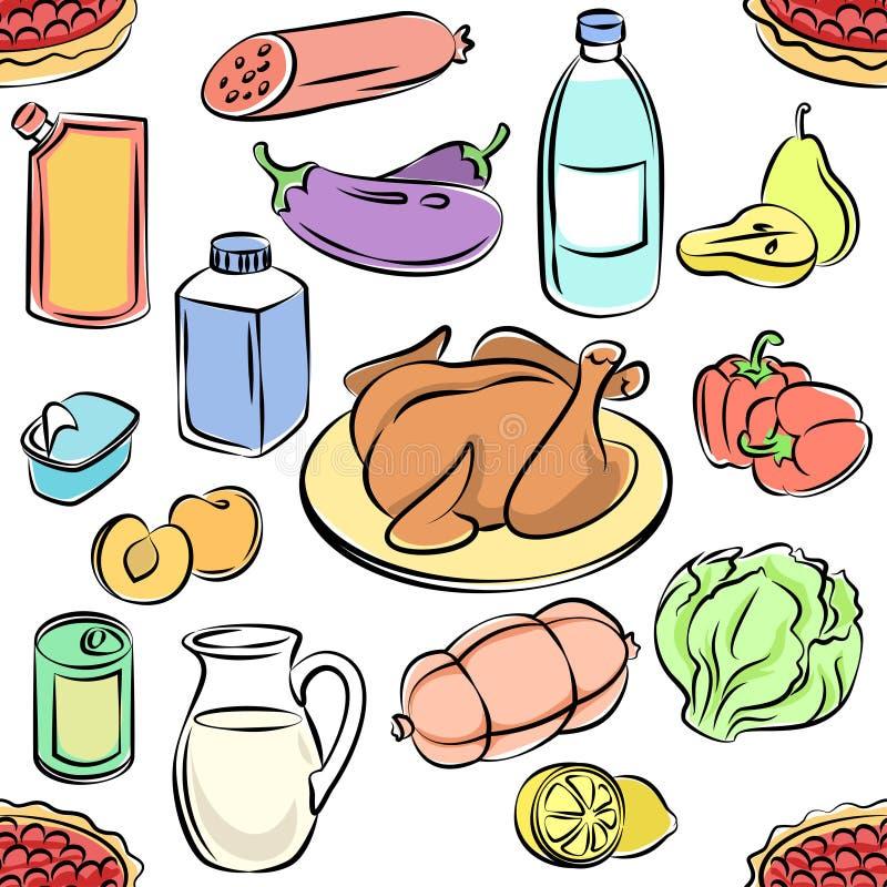 jedzenia bezszwowy deseniowy Freehand doodles karmowi Szkicowy wektor royalty ilustracja