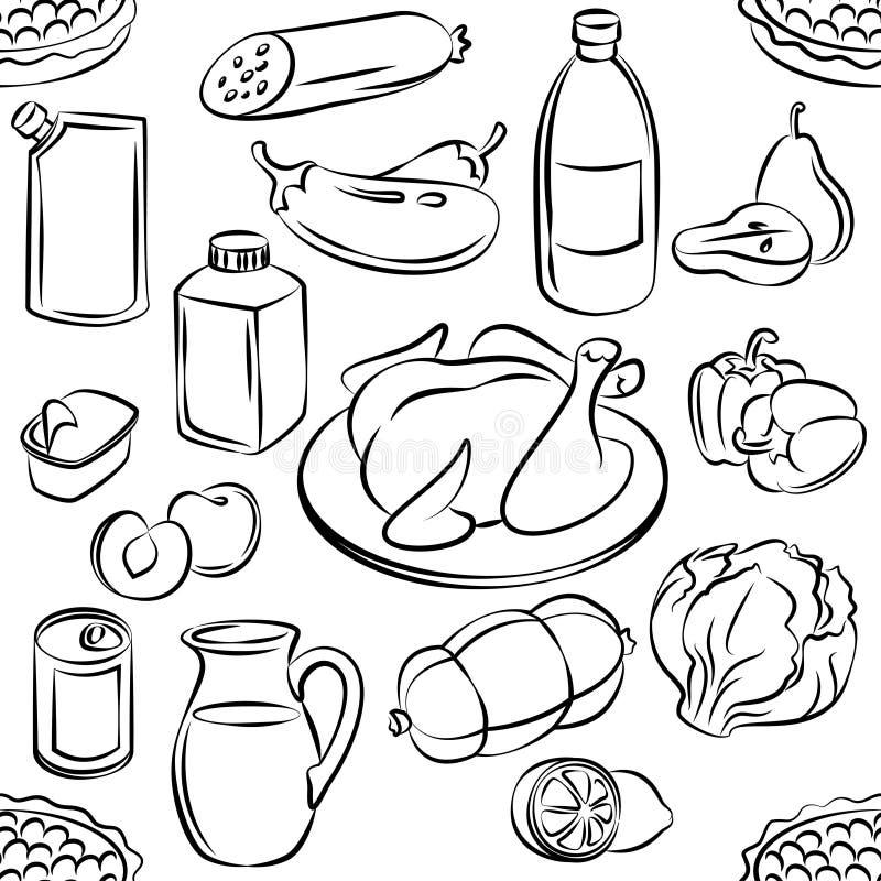 jedzenia bezszwowy deseniowy Freehand doodles karmowi Szkicowy wektor ilustracja wektor