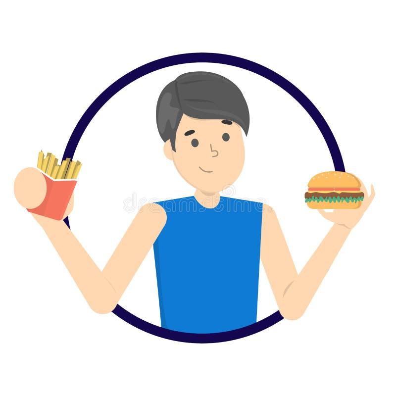 jedzenia fast - człowieku Niezdrowy odżywiania pojęcie ilustracja wektor