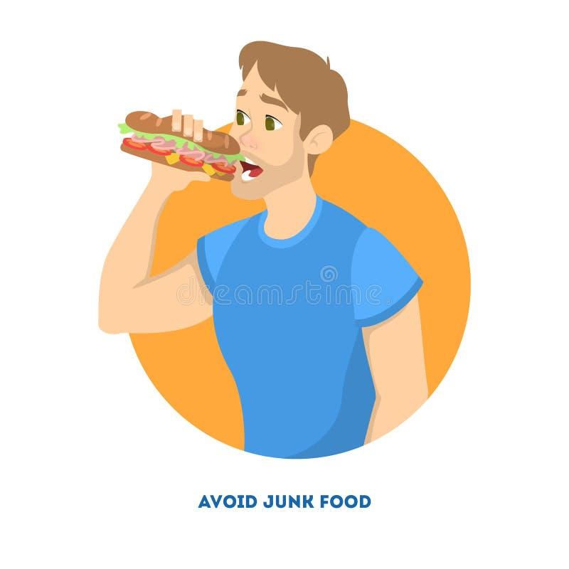 jedzenia fast - człowieku Niezdrowy odżywiania pojęcie royalty ilustracja