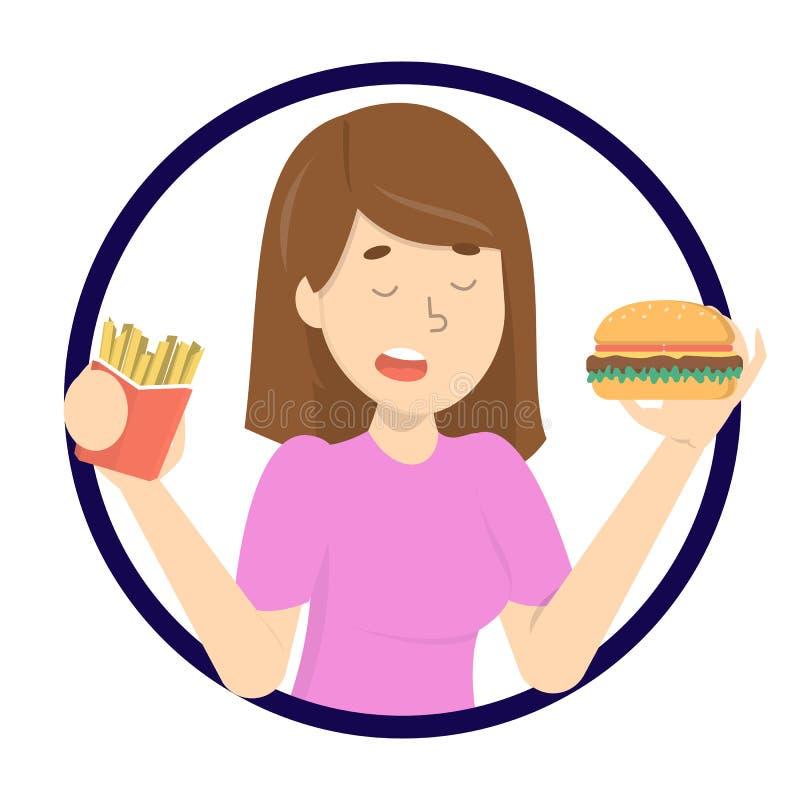 jedzenia fast - kobieta Niezdrowy odżywiania pojęcie ilustracji