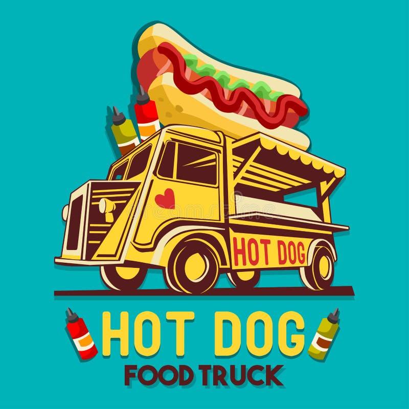 Jedzenia hot dog postu Doręczeniowej usługa wektoru Ciężarowy logo ilustracji