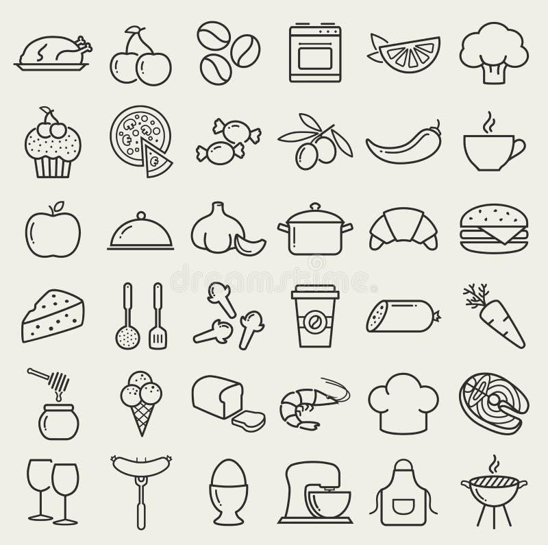 Jedzenia i kucharstwa kreskowe ikony kreskówki serc biegunowy setu wektor ilustracja wektor