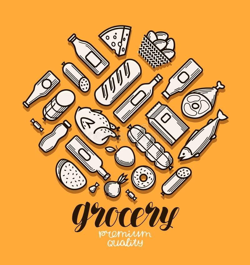 Jedzenia i napojów ikony ustawiać Sklepu spożywczego sztandar również zwrócić corel ilustracji wektora royalty ilustracja