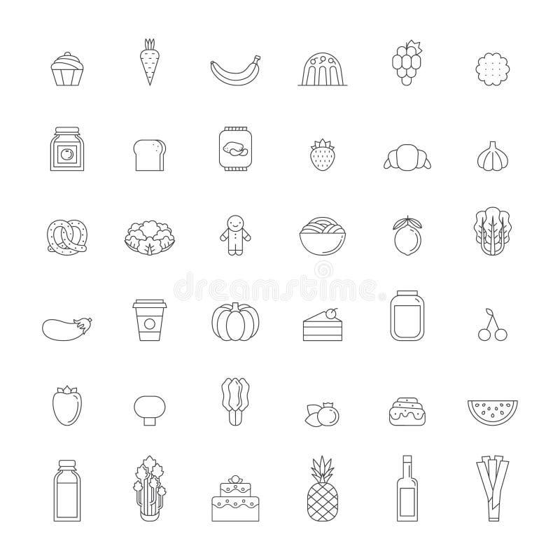 Jedzenia i napojów konturu ikony ustalone szarość projekt prosty royalty ilustracja